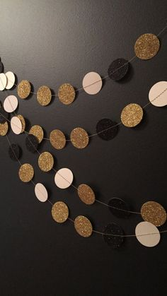 Great Gatsby Party Garland, Party Decorations, Glitter Garland in Black and Gold, Wedding Garland, Birthday Garland, Great Gatsby Party, on Etsy, $7.10 AUD