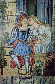 Erotokritos and Arethousa, Theophilos Kefalas - Hatzimihail Kisses, Greece Painting, Street Art, Art Of Love, 10 Picture, Artist Painting, Renaissance, Medieval, Folk