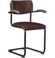 Cantilever Leather and Iron Chair