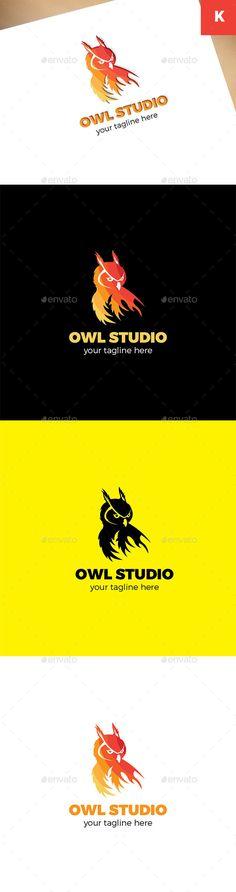 Owl Studio Logo: Animal Logo Design Template by keenarstudio. Logo Design Template, Logo Templates, Owl Logo, Illustrator Cs5, Studio Logo, Creative Icon, Animal Logo, Icon Design, Symbols