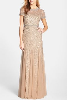 ADRIANNA PAPELL Beaded Mesh Gown Champagne $80