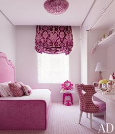In Donny Deutsch's Manhattan townhouse, pink is the theme of a daughter's bedroom
