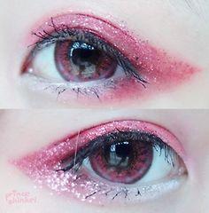 Pink sparkling make up Lolita Makeup, Gyaru Makeup, Kawaii Makeup, Pink Eye Makeup, Goth Makeup, Makeup Inspo, Makeup Art, Makeup Inspiration, Beauty Makeup
