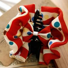 Dotted Bow-Accent Hair Clamp Red - One Size Clamp, Gold Jewelry, Dots, Pendants, Lights, Red, Hair, Stitches, The Dot