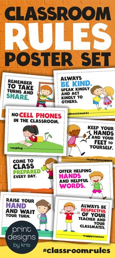 Classroom rules poster set for elementary school classroom. Fun and cute class posters with hashtags to remind students of the class rules. Class Rules Poster, Classroom Rules Poster, Classroom Bulletin Boards, School Classroom, Classroom Decor, Classroom Activities, Classroom Procedures, Classroom Layout, School Plan