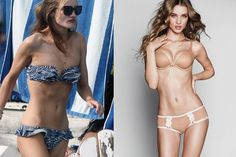 Rosie Huntington-Whiteley. Bones removed, weight added, breast size boosted, elbow lines removed, neck elongated, thighs widened, ears removed. Check out her left hand where her abs were altered. // With thanks to @The Illusionists documentary!