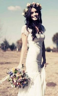 White lace wedding dress