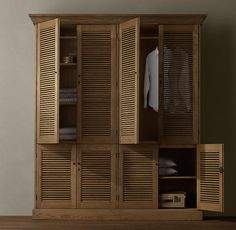 RH's Shutter Double Armoire:Angled louvers, an architectural detail first used in ancient Greece, have found a new place in the home. Home, Bedroom Interior, Guest Bedroom Design, Bedroom Cabinets, Wooden Wardrobe Design, Interior Design Bedroom, Closet Door Makeover, Solid Wood Wardrobes, Remodel Bedroom