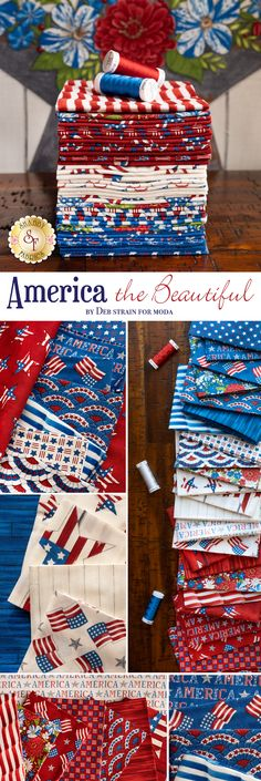 America the Beautiful is a stunning patriotic collection by Deb Strain for Moda Fabrics. 100% Cotton. Shabby Fabrics, Quilting, America, Sewing, Cotton, Beautiful, Collection, Dressmaking, Couture