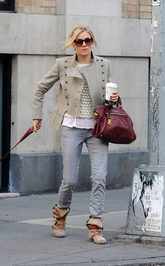 Sienna Miller double breasted jacket jeans and boots