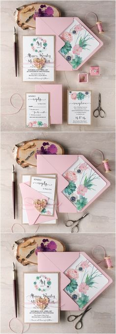 Rustic pink wedding invitations @4LOVEPolkaDots
