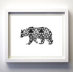 INSTANT DOWNLOAD: Black and White Geometric Bear Modern Wall Art    **This item is a DIGITAL download item, NO PHYSICAL item will be shipped to your address. HOW TO GET YOUR FILE:  *This is instant download JPG file in 8x10 inches. (High quality 300 dpi). As soon as you check out your file will be available to download right here on Etsy. You may also read follow this link for further information: https://www.etsy.com/help/article/3949  _______________________________...