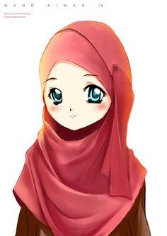 Beautiful One Hijab Cartoon Islamic Girl Anime Muslimah Muslim Girls