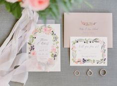 A Colorful Boho California Wedding. Spring wedding invitations with pink and green watercolor design. #springwedding #weddinginvitations #LosAngelesWedding
