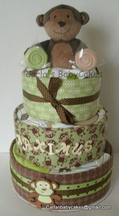 Monkeying Around - 'dressed', 'stuffed' and 'personalized' diaper cake