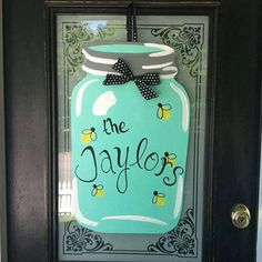 Welcome Yall Southern Jar Wooden Door with Fireflies