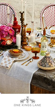 Hosting a spring dinner party?  You hardly need the beach to get this spread's heady mix of warm hues, golden glints, and natural textures.  Set your own deliciously eclectic scene with  spirited tableware, luxe linens, and more from One Kings Lane.