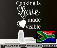 COOKING IS LOVE MADE VISIBLE WALL ART STICKER LARGE VINYL DECAL