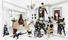 Marcel Dzama (Canadian, b. 1974), The After Party. Ink, gouache and graphite on paper. 2-part work. Overall: 17 x 28 in.