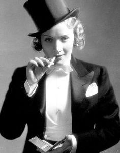 Marlene Dietrich sports her Savile Row bespoke suit, circa 1930.
