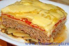 Запеканка из макарон с мясным фаршем в духовке под сырной корочкой - http://www.vkusnorecepti.ru/zapekanka-s-farshem/