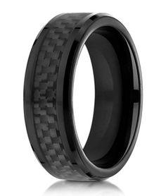 Benchmark Cobalt Chrome Men's Ring, Black Carbon Fiber Inlay, 8mm