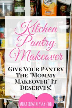 Kitchen Pantry Makeover - Time for a Kitchen Pantry Remodel?! Is your pantry in need of new remodel ideas? Want a better way on how to organize your pantry? Here is how to makeover your pantry and do a whole new Pantry Redo! - whatthegirlssay.com
