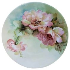 Ravishing Bavaria Vintage Hand Painted Peach Roses Floral Plate Exceptionally and expertly decorated is this vintage unmarked Bavaria, circa early hand painted Floral Plate. Hand Painted Plates, Painted Vases, Painted Porcelain, China Painting, Ceramic Painting, Casas Shabby Chic, Red And Pink Roses, Dishes, Sled