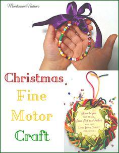 Montessori Nature: Christmas Fine Motor Craft | Handmade Gifts Kids Can Make | Christmas Handmade Ornament for Kids | Handmade Card | Montessori Activities | DIY cards | Sewing for kids | Threading