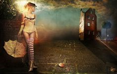 """""""Victoria"""" by Spiral Studios.  Clouds; surreal light; striped thigh highs; umbrella."""