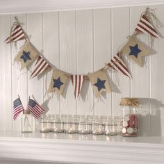 Stars and stripes are never out of style. Show off your patriotism with a Star Spangled Burlap Pennant Banner.