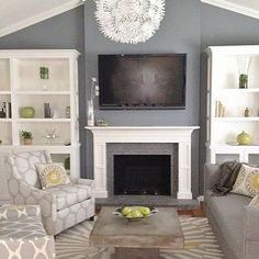 Different colors- out built ins next to fire place in the family room