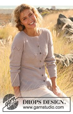 Knitted DROPS jacket with raglan sleeves with lace pattern in Alpaca. Free pattern by DROPS Design. Knitting Paterns, Knitting Kits, Free Knitting, Crochet Patterns, Drops Design, Cardigan Pattern, Jacket Pattern, Knit Cardigan, Cute Cardigans