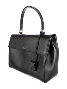 Black leather Saint Laurent 'Moujik' satchel with gold-tone hardware, rolled top hand, detachable shoulder strap, black woven lining, interior dual compartments, center two-way zip compartment and three wall pockets throughout and snap button closure at flap. Includes dust bag. Shop authentic designer handbags by Saint Laurent at The RealReal.