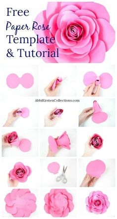 Large Free Paper Rose Template and Tutorial Free Large Paper Rose Template: DIY Camellia Rose Tutorial. How to make easy large paper roses. Tutorial Rosa, Rose Tutorial, Paper Flower Tutorial, Diy Paper Flower Backdrop, Free Paper Flower Templates, Templates Printable Free, Printable Paper, Flower Template Printable, Free Printables