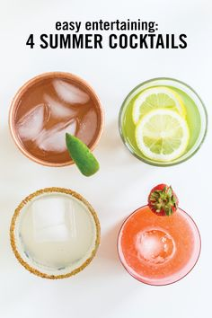Say hello to your new go-to guide for delicious outdoor entertaining drinks this summer! It's 4 Easy Lemonade Cocktails. With flavor combinations like spicy lemonade margarita, vodka strawberry, and lime moscow mule, you'll want to save each refreshing recipe.