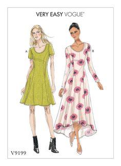 V9199 | Vogue Patterns, fit and flare knit dresses.