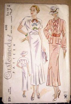 1930s Simplicity 8190 Customode Dress & Jacket Sz18/36/39 sld 33+2.32 10bds 9/26/14