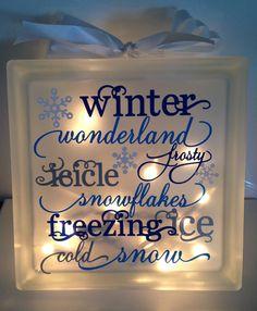 Decorative Glass Block  Winter Theme by StitchesandQuilts on Etsy, $30.00