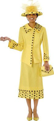 YOU HAVE GOT TO BE KIDDING Mother of the Bride / Groom Embellished YELLOW 2pc Suit + HAT & BAG 18W2X