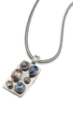 Burnished silver enhancer encrusted with Smoked Topaz, Denim Blue, and Indian Sapphire Swarovski Crystals pictured on sleek burnished silver necklace Designer Jewellery, Jewelry Design, Blue Denim, Topaz, Swarovski Crystals, Sapphire, Blues, Pendant Necklace, Indian