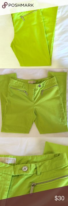 """Michael Kors green pants Michael Kors lime green straight leg pants with silver front zippered pockets and a silver button. Great summery color!! 27"""" inseam and 30"""" waist.  97% cotton 3% spandex. EUC. MICHAEL Michael Kors Pants Straight Leg"""