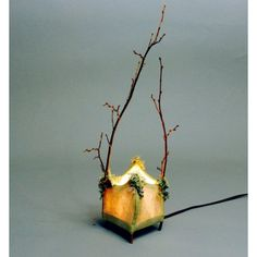 Skylar handmade paper and twig lamp by wyldewoodpapers on Etsy