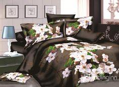 Fragrant Cherry Blossom #3D Print 4-Piece Polyester Duvet Cover Sets