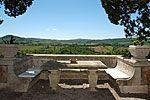 garden table at the italian park of Villa Poggiano, boutique hotel in MOntepulciano