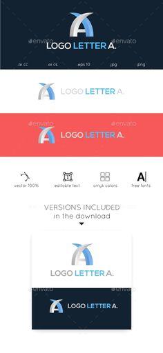 A Letter Logo - Letters Logo Templates 7 Logo, Logo Branding, Logo Design Template, Logo Templates, Business Brochure, Business Card Logo, Two Letter Logo, Triangle Logo, Best Logo Design