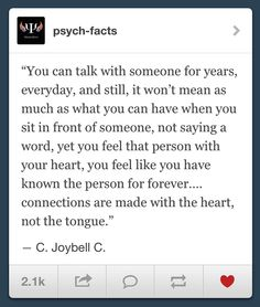 You can talk with someone for years...