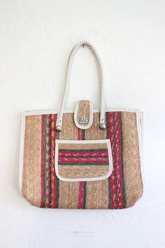 SUMMER SALE Vintage 70s Woven Straw Tote Bag // Vaux Vintage