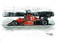 1983 Ferrari 126 C3,  Rene Arnoux,  Patrick Tambay.  Ferrari F1 collection ART by Artem Oleynik. This collection demonstrating Ferrari F1 racing cars since 1950 to 2016 and includes 96 pictures in oil on canvas. The size of each original picture is 25 x 35 cm.