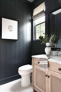 Black bathroom with white penny tile bathroom remodel cost, bathroom renova Dark Bathrooms, Beautiful Bathrooms, Small Bathroom, Bathroom Black, Luxurious Bathrooms, Shower Bathroom, Penny Tile Bathrooms, Bathroom With Wood Wall, Black And White Bathroom Ideas